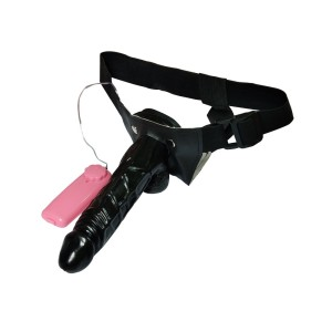 Leluv 7 inch Hollow Strap on Dildo harness with vibrator SO22